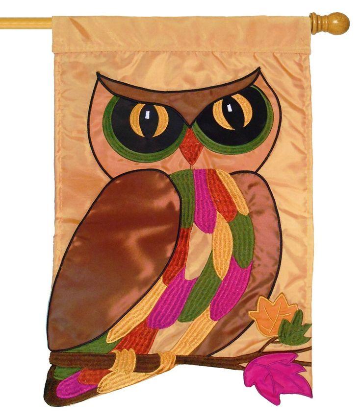 Iamericas Flags Autumn Owl Double Applique House Flag