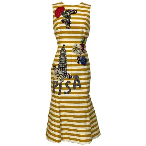 Preowned New Dolce & Gabbana Yellow And White Stripe Tower Of Pisa... ($2,395) ❤ liked on Polyvore featuring dresses, sheath dresses, yellow, striped midi dress, embroidered dress, sequin sheath dress, yellow midi dress and flare dresses