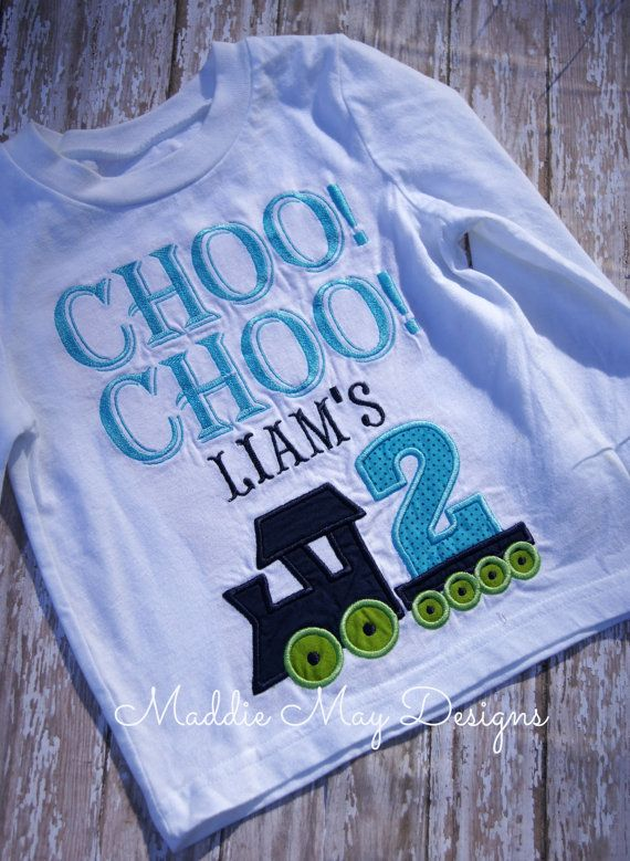 Boys Choo Im Two Train Birthday Shirt