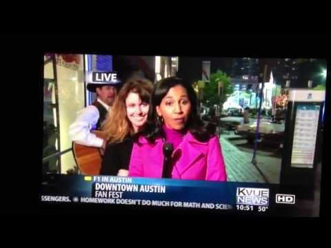 Drunk lady interrupts Kvue #F1 News report Austin, TX