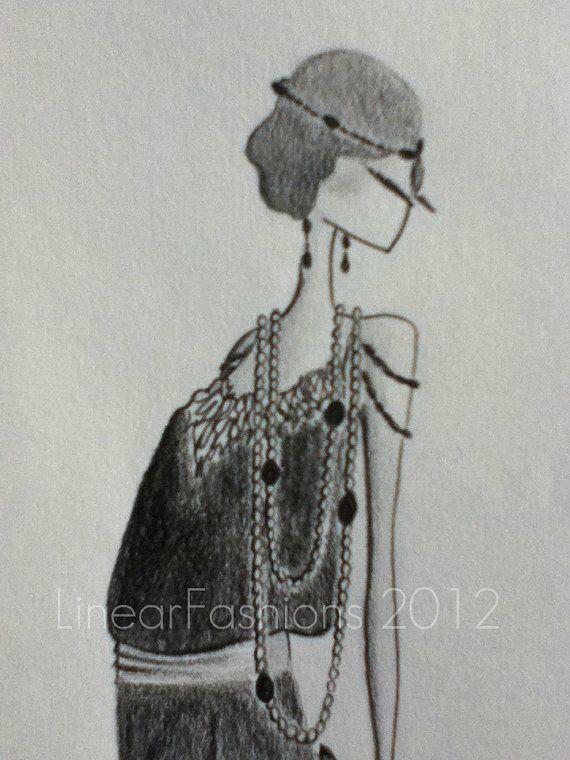 1920s Flapper Dress Art Deco Fashion by LinearFashions on Etsy