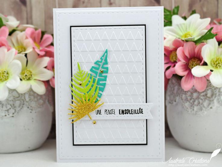 Une pensée ensoleillée : Carte avec fond embossé et feuilles tropicales / Embossing background card with tropical leaves