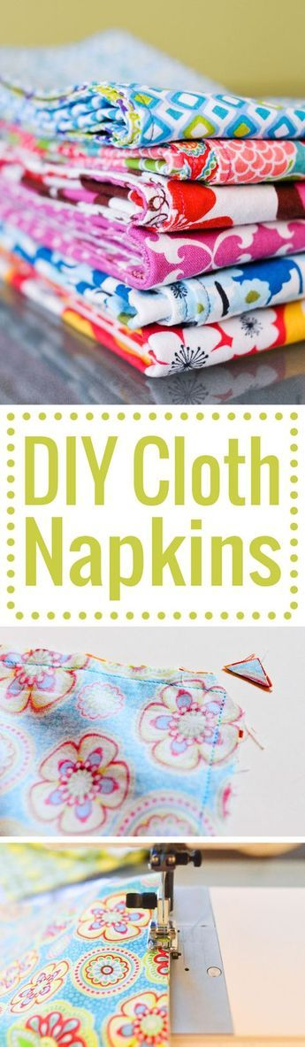 DIY cloth napkins for your home. An easy tutorial with step-by-step photos. Perf…