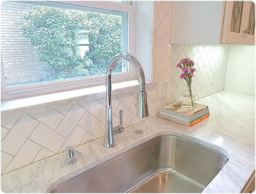 A different take on subway tiles - maybe we can use the leftover subway tiles for the kitchen backsplash