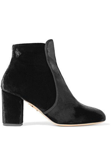 Charlotte Olympia - Alba Embellished Velvet Ankle Boots - Black - IT38.5
