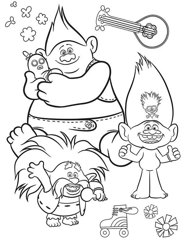Coloring Page For Kid Trolls Free Printable Trolls World Tour Coloring Pages Activities