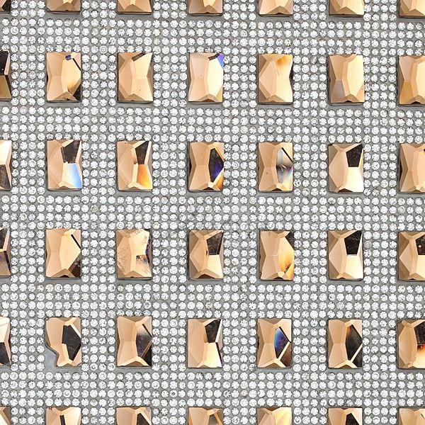 Art 042 Φύλλο Στρας με Μεγάλες Παραλληλόγραμμες Πέτρες χρ. Τοπαζ