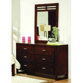 Paula Dresser and Mirror in Dark Brown Cherry Finish By Homelegance $517.11