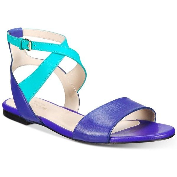 Cole Haan Fenley Strappy Flat Sandals ($150) ❤ liked on Polyvore featuring shoes, sandals, navy, navy blue flat sandals, strappy sandals, strap sandals, flat gladiator sandals and gladiator sandals