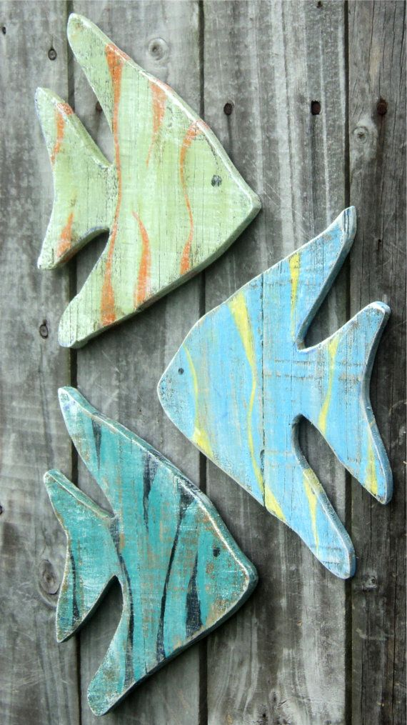 Beachy Wooden Angel Fish Casual Cottage Decor by TheSavvyShopper1, $35.00