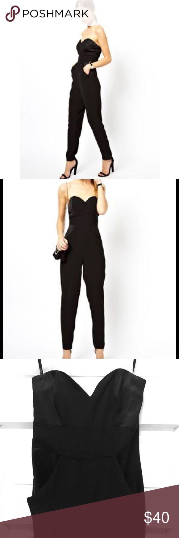 Bandeau jumpsuit Brand new never worn before bandeau jumpsuit with deep plunge neck. ASOS Pants Jumpsuits & Rompers