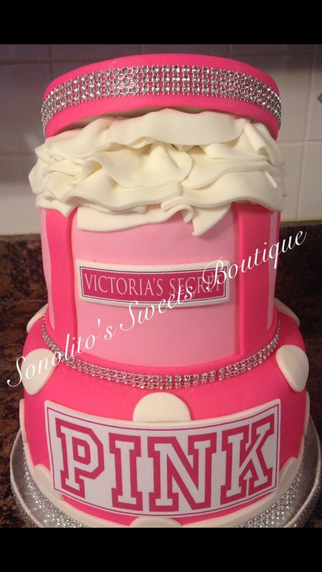 Victoria secret cake, pink cake, gift box cake