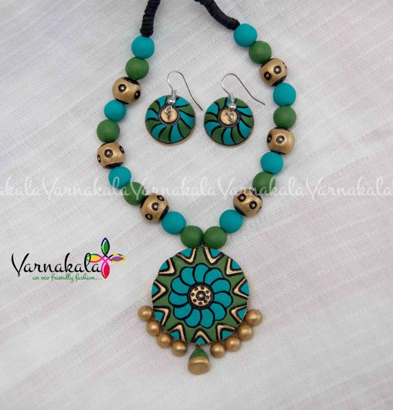 VK029 BLUE GREEN & GOLD Handmade Terracotta Clay by Varnakala