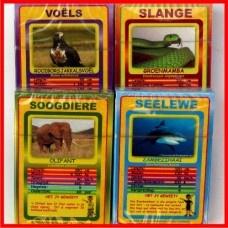 Diere Kaartspel: Leer diere-feite terwyl jy hierdie kaart speletjie speel!  30 x kaarte (met 30 verskillende diere) per pak.  6 x Statistieke/Feite van elke dier.  Geskik vir ouderdom 6+ >>>BESKIKBAAR BY: http://www.familietyd.co.za/shop/index.php?route=product/product=59_101_id=166
