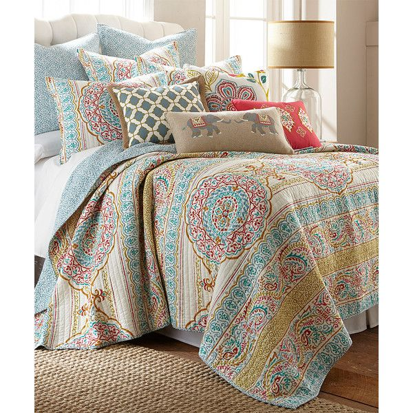 Levtex Home Blue Tangier Quilt Set ($80) ❤ liked on Polyvore featuring home, bed & bath, bedding, quilts, blue bedding, blue twin bedding, twin bed linens, blue pillow shams and cotton pillow shams