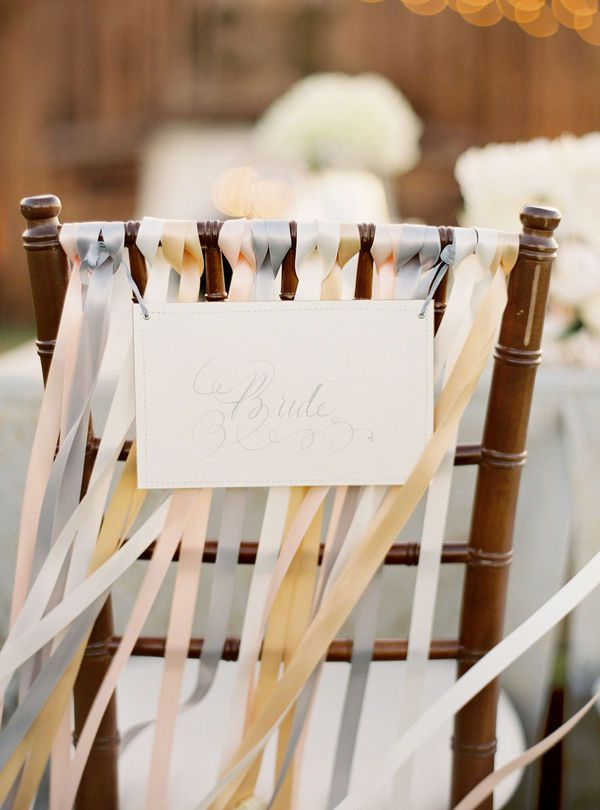 Mr/Mrs sign on the back of our chairs...the ribbons are a nice touch and are beautiful colours: Wedding Inspiration, Wedding Ideas, Wedding Decor, Weddings, Brides, Chair Ribbons