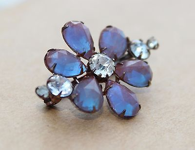 Saphiret-glass-brooch-cabochons-antique-victorian-flower-19c-1890-rhinestone-old