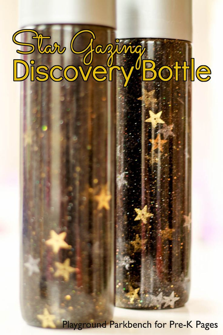 Star Gazing Discovery Bottles. These star discovery bottles are perfect for a space theme in your preschool or kindergarten classroom! Kids love to shake and look at the night sky in the bottles. Put these in your science center for learning and fun! - Pr