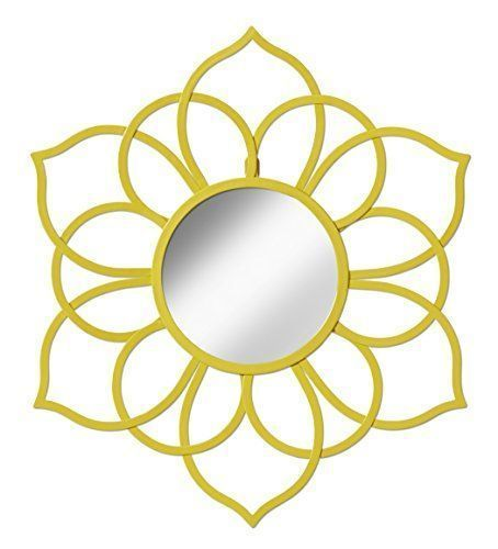 Kate and Laurel 208381 Brienne Metal Flower Round Wall Accent Mirror, Yellow    Decorate your walls with more than just murals and paintings, consider metal flower wall art.  In addition to being beautiful floral wall art gives a room a soft vibe