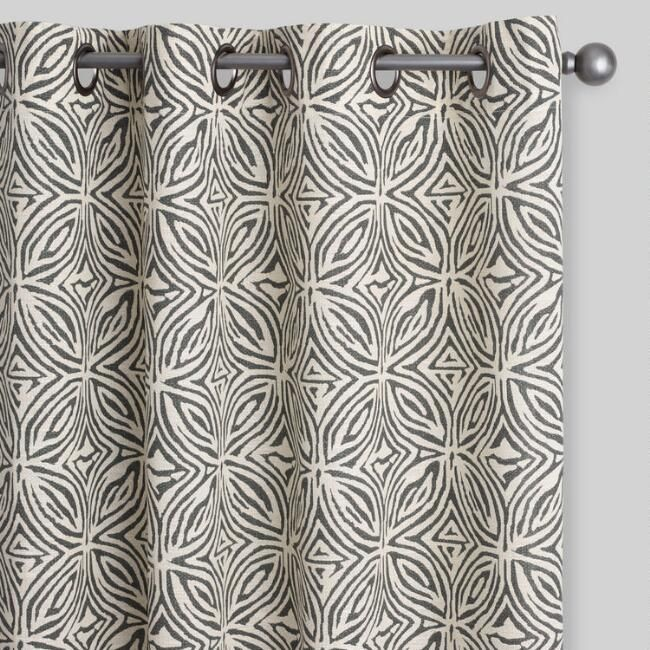 With Their Tribal Art Inspired Pattern In Charcoal And Ivory Our Exclusive 100 Cotton Grom Grommet Curtains Living Room Pattern Curtains Living Room Curtains