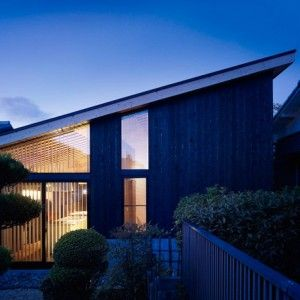 This is the most exciting design I've seen for a residence in a while. Wow! Charred+timber+clads+walls+of++Okazaki+House+by+MDS