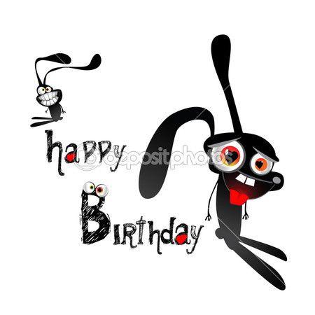 Boldog születésnapot vicces nyulak — Stock Vektor © novkota1 #16369235