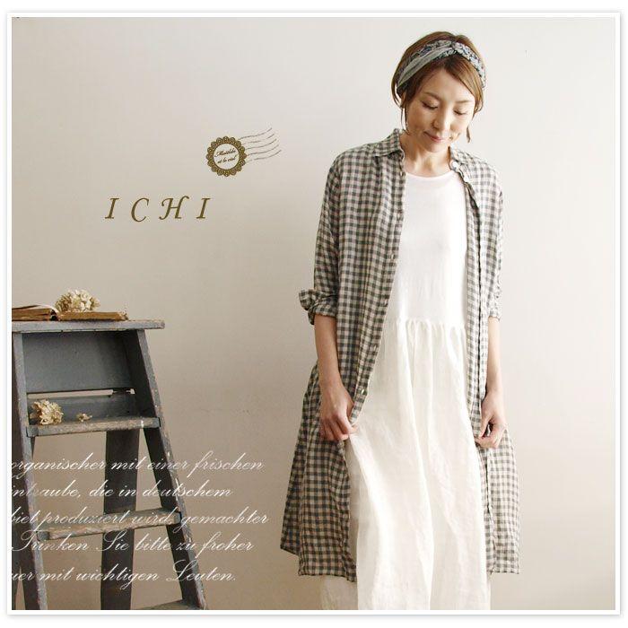 【ICHI イチ】リネン ギンガムチェック シャツ ワンピース (70106)