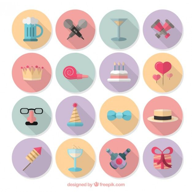 Collection of colorful birthday icons Free Vector