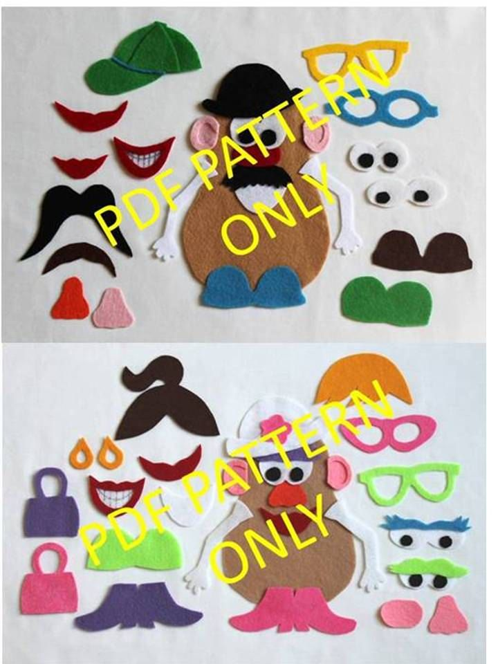 PATTERN ONLY - 2 Patterns - Mr. Potato Head and Mrs. Potato Head Felt Toy. $3.75, via Etsy.