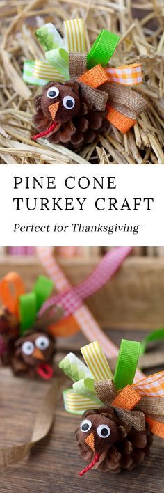 Kids of all ages will enjoy making simple and beautiful Scrap Ribbon Pine Cone Turkeys for Thanksgiving. They are an easy fall nature craft for kids! #thanksgiving #naturecrafts #kids via @https://www.pinterest.com/fireflymudpie/