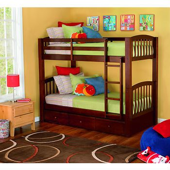 Living Home Barrington Twin Size Bunk Bed With Trundle Bed