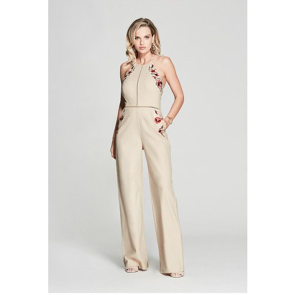 GUESS by Marciano Luella Floral Jumpsuit ($198) ❤ liked on Polyvore featuring jumpsuits, halter tops, halter neck jumpsuit, halter jumpsuit, halter-neck tops and guess by marciano