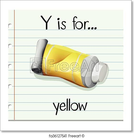 Flashcard letter Y is for yellow - Artwork  - Art Print from FreeArt.com