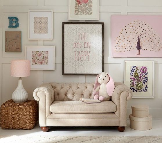 This is the cutest thing ever!!! A mini-tufted couch!!!