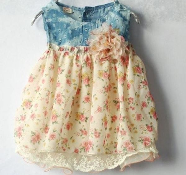 Cream Peach Denim Dress Sleeveless Dress Floral Summer | Rudelyn's Sari Sari Store
