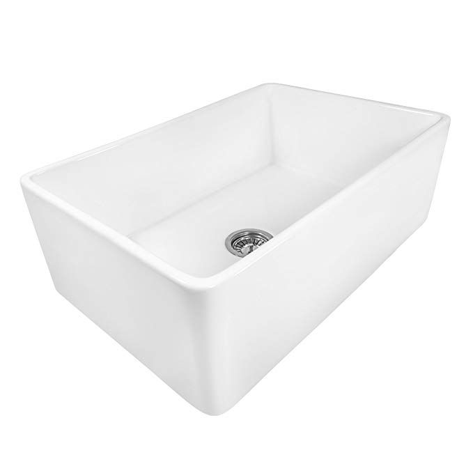 Ruvati 33 X 20 Inch Fireclay Reversible Farmhouse Apron Front Kitchen Sink Single Bowl White Apron Front Kitchen Sink Farmhouse Sink Kitchen Sink