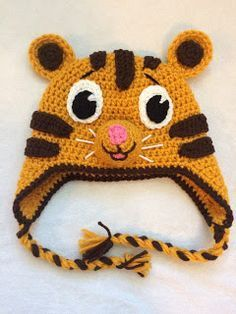 A free crocheted hat pattern of the adorable Daniel Tiger.