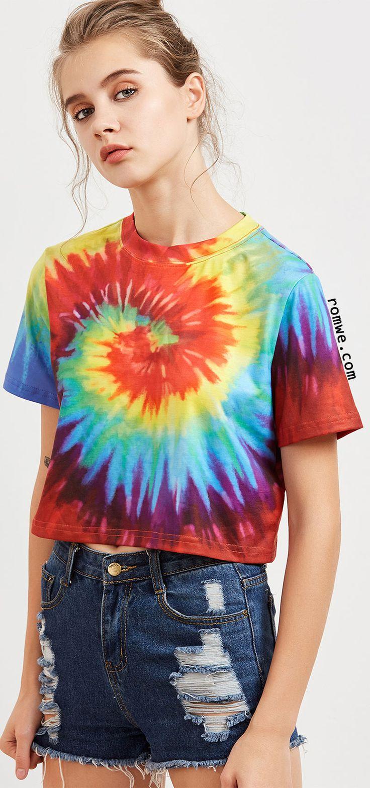 Multicolor Tie Dye Print Crop T-shirt