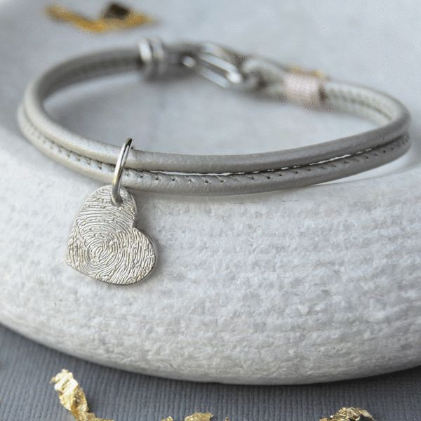 LEATHER AND SILVER FINGERPRINT CHARM BRACELET