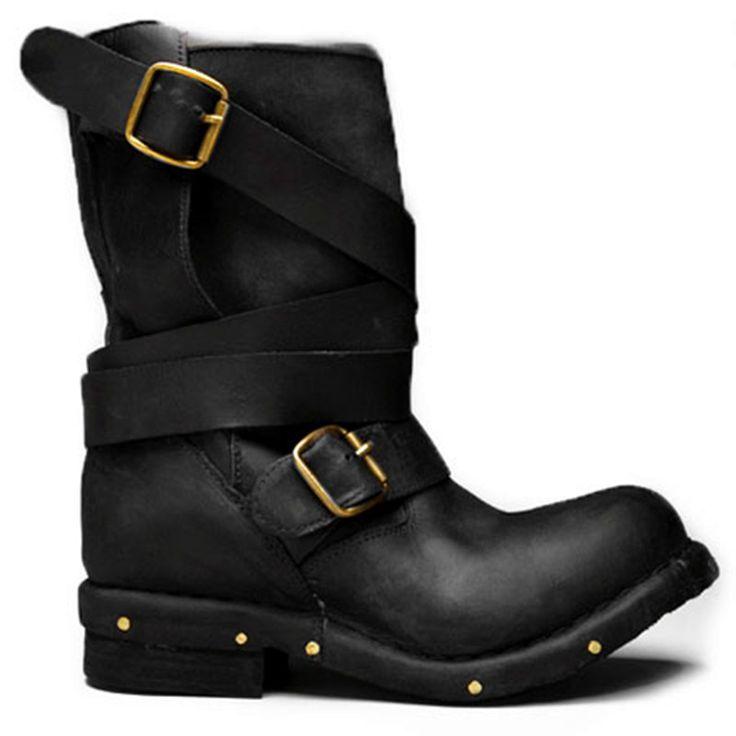 pas cher rtro en cuir vritable bout rond courtes femmes chaussures moto quitation cheville bottes rivet