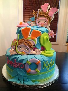 baby with mask and snorkel on cake - Google Search