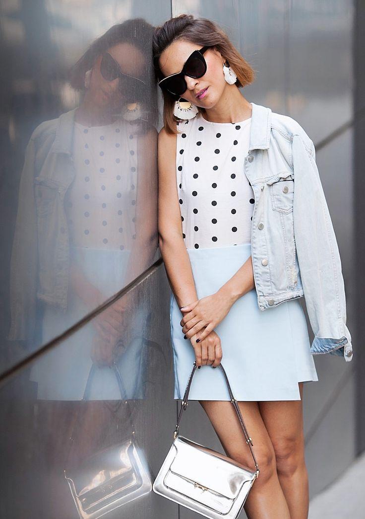 Polka dot top outfit | marni metallic handbag | summer street styles