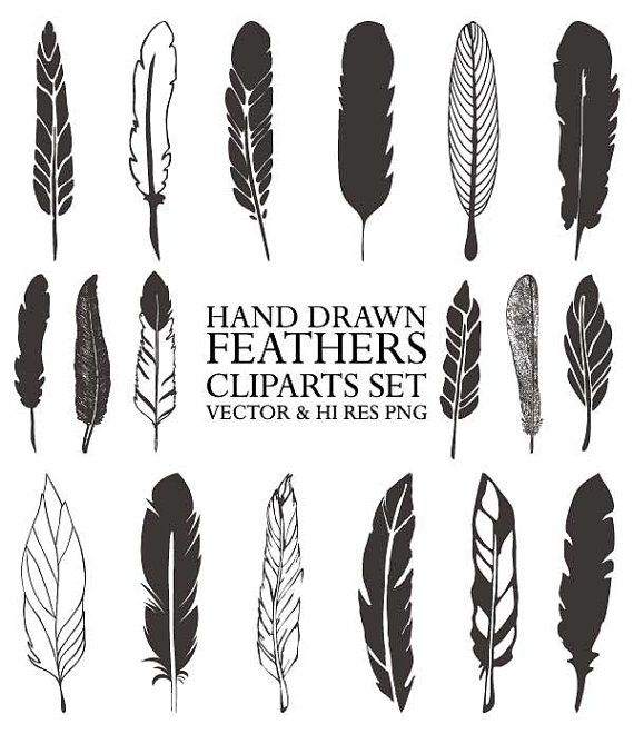 18 Hand Drawing Boho Tribal Ethnic Feather Hand by seaquintdesign