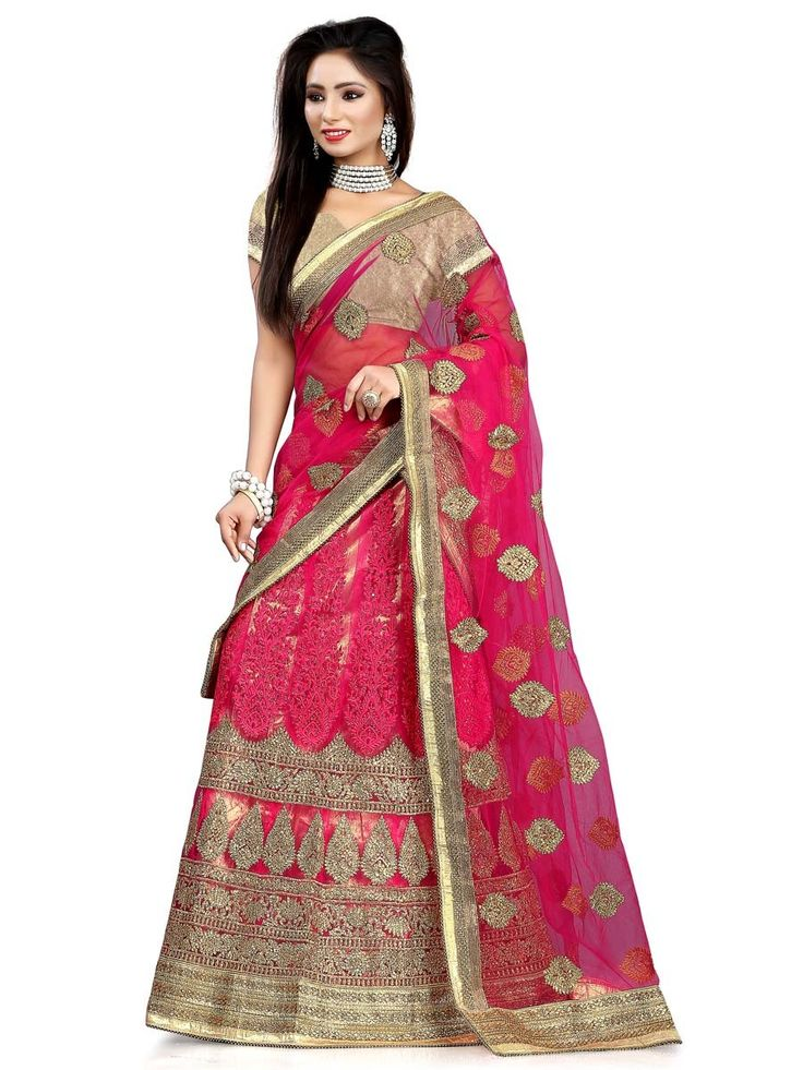 Miraculous net kalidar lehenga in magenta pink color is prettified with resham, kundan and zari work. Item Code: GLO9302 http://www.bharatplaza.com/new-arrivals/lehengas.html