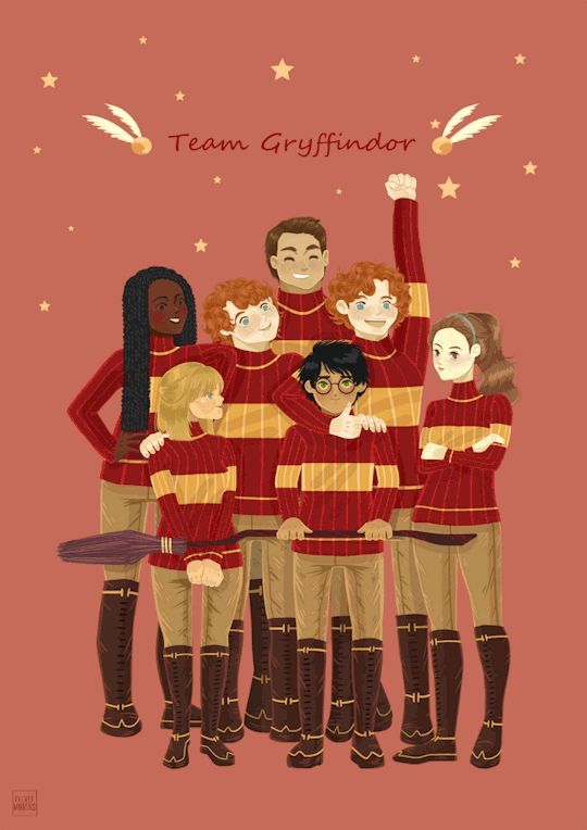 the original Gryffindor quidditch team (from left to right): Angelina Johnson, Alicia Spinnet, George Weasley, Oliver Wood, Harry Potter, Fred Weasley, Katie Bell. by Velvet Mirrors