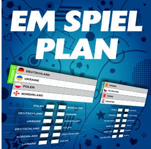 Der Spielplan zur Fussball EM 2016 in Frankreich mit Ihrem eigenem Logo oder vereinswappen. Eine EM ohne Spielplan geht doch gar nicht. Hier mehr ...