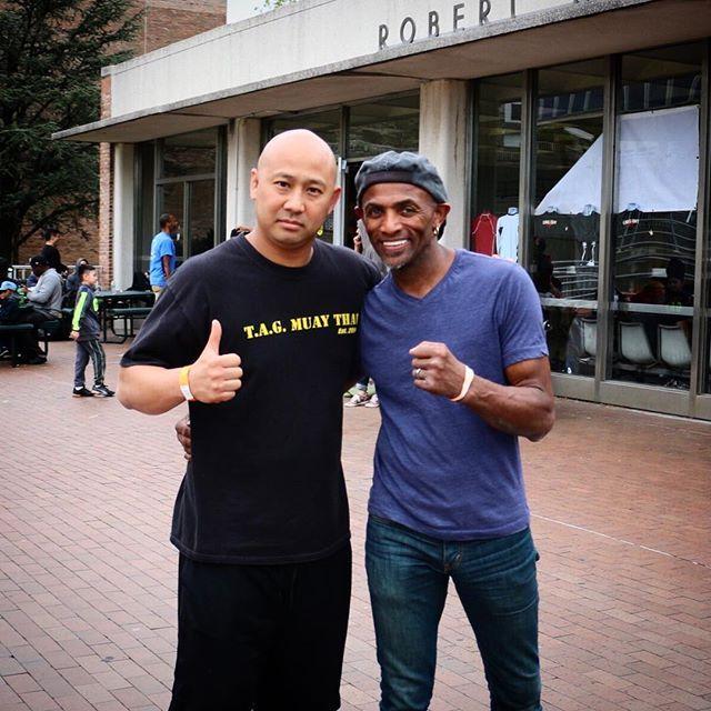 "Kru Chris Aboy with Ajarn Phil Nurse - legendary world champion and Muay Thai trainer of Former UFC fighter George St Pierre ""GSP"", Jon Jones, Frankie Edgar, and the list continues.  -- #tagmuaythai #MMA #muaythai #thaiboxing #muaythaifighter #nakmuay #ufc #fighter #WKA #fight #fitspo #motivation #NYC #kickboxing #boxing #bjj #selfdefense #VA #NoVA #DC"