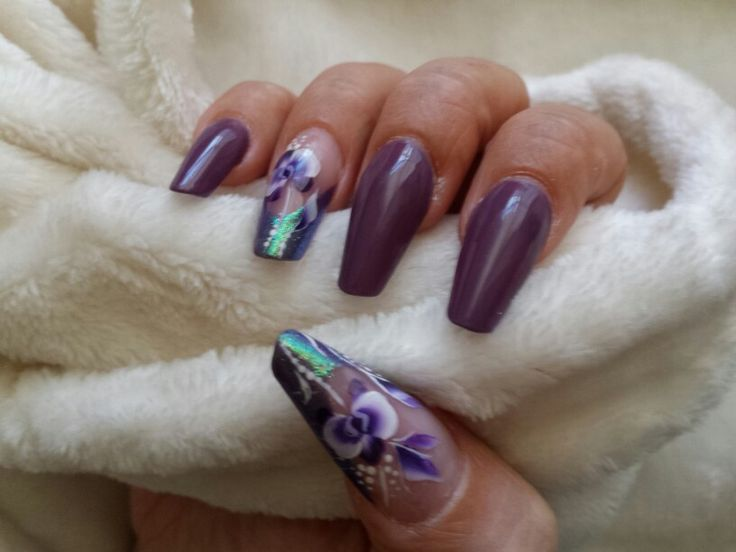 Winter Purple e fiori one stroke su french glitterata