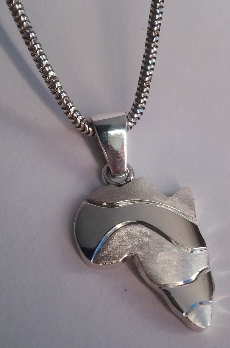 Sterling silver African wave map pendant in matt and gloss finish on silver chain