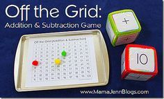 Off the Grid: Addition and Subtraction Game using the 100 chart. Uses one dice with + & - on it, the other with numbers, and the first person off the board -0 or +100, wins! Cool game! I've already downloaded it...thanks MamaJenn!